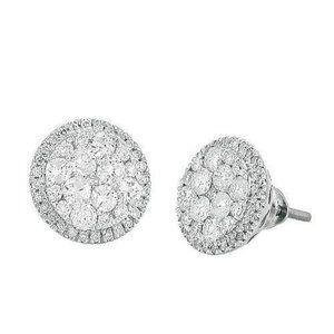 14K White Gold 1.50 Ct Diamond Luna Cluster Earrin
